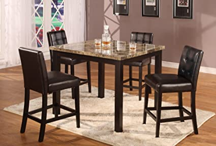 Roundhill Furniture Oern 5-Piece Dark Artificial Marble Top Counter Height Dinette Dinning Table Set & Amazon.com: Roundhill Furniture Oern 5-Piece Dark Artificial Marble ...