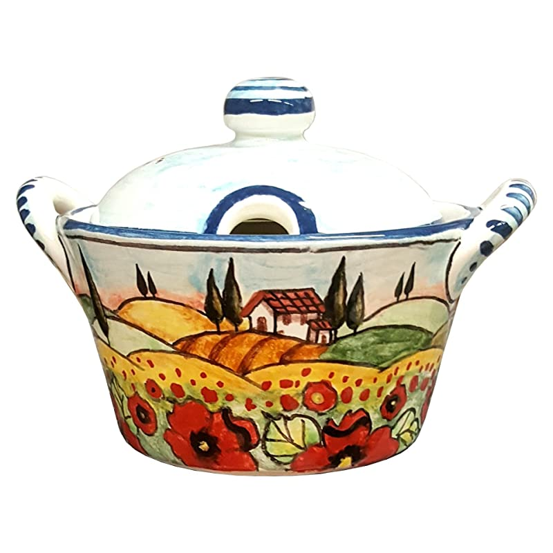 Italian Ceramic Art Sugar CERAMICHE PARRINI Cheese Bowl Pottery Decorated Landscape Tuscan Poppies Hand Painted Made in ITALY