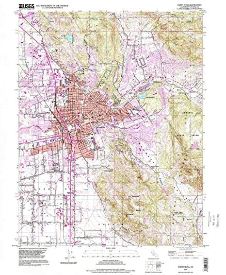 Santa Rosa California Map.Amazon Com Yellowmaps Santa Rosa Ca Topo Map 1 24000 Scale 7 5 X