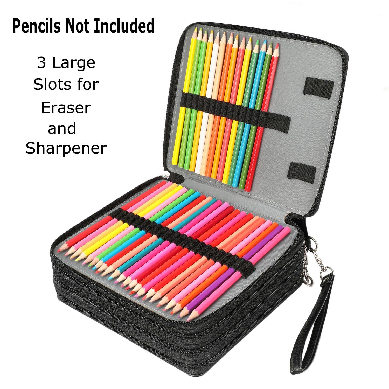 Soucolor 168 Slots Pencil Case PU Leather Handy Pencil Wrap with Zipper Super Large Capacity Pen Bag for Prismacolor Premier Colored Pencils, Crayola ...