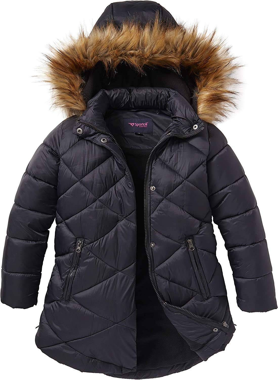 Available Christmas Girls Winter Warm Coats Ear Hooded Faux Fur Fleece Jacket with Padded Inside