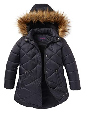 faaea7708776 Amazon.com  Girls Quilted Fleece Lined Winter Puffer Jacket Coat ...