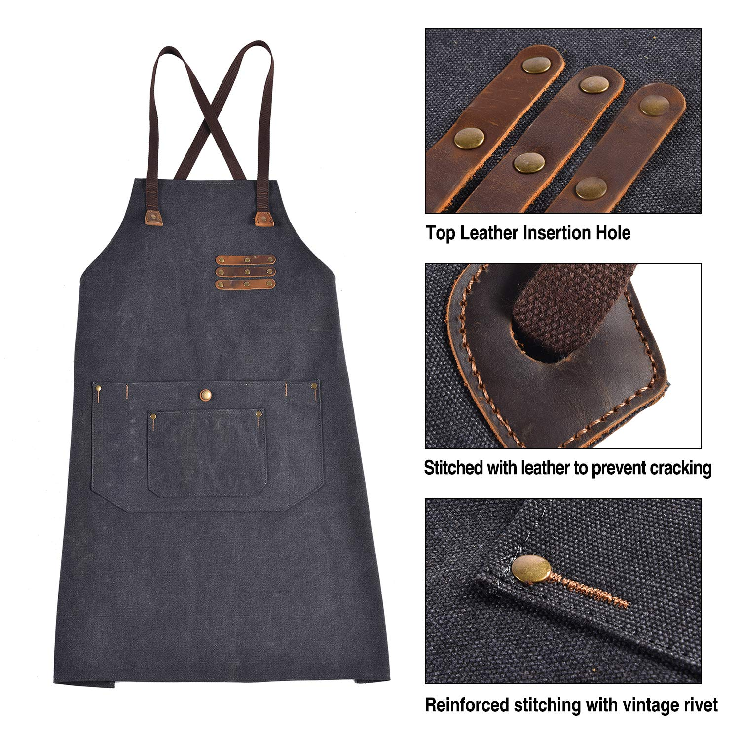Canvas Shop Apron for Men & Women  Heavy Duty Work Apron with Pocket & Cross-Back Straps   Adjustable Tool Apron M to XXL(Grey) by ruizhixuan (Image #4)