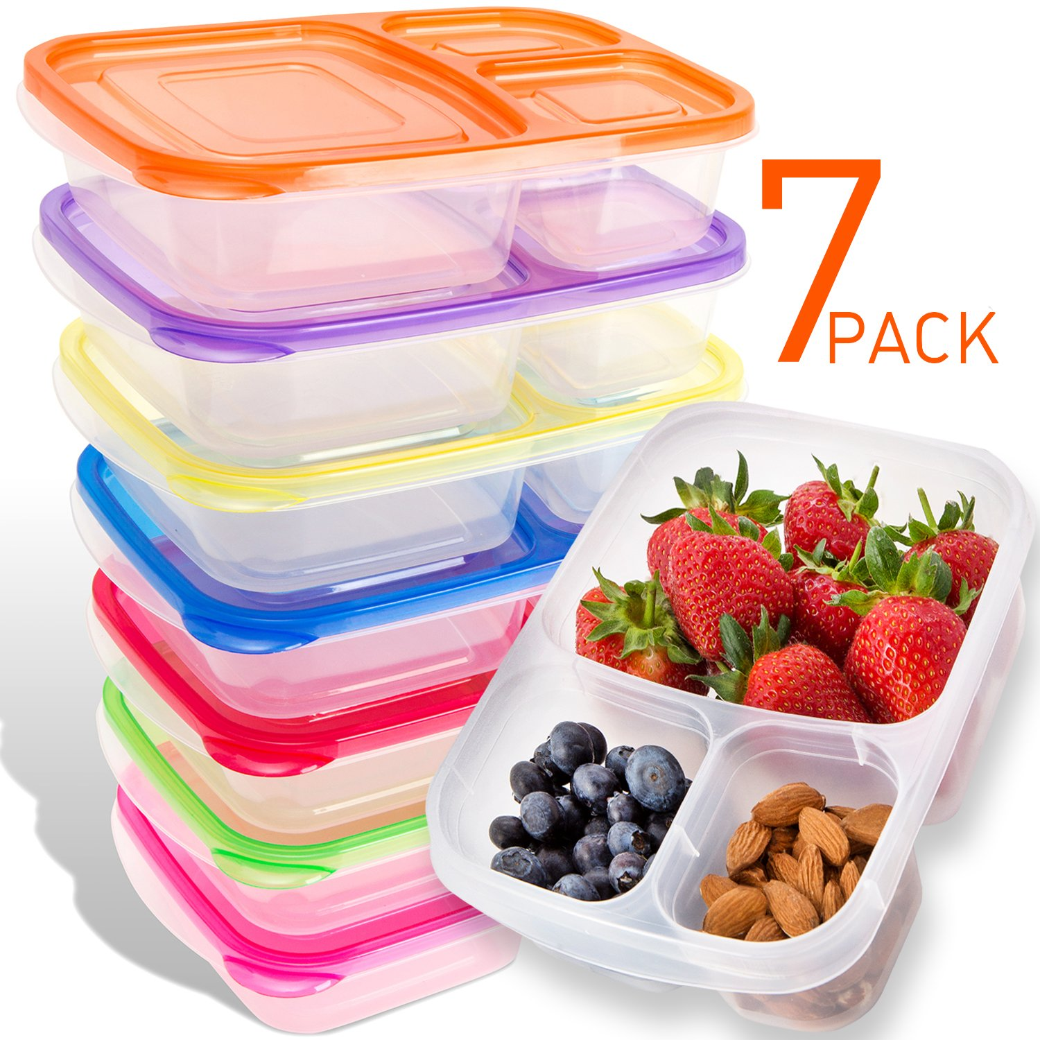 Bento Lunch Box Containers 7 Pack for Kids Adults Plastic Divided 3