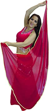 Silver Trimmed Semi Circle Veils Belly Dance Costume Veil Wrap Scarf