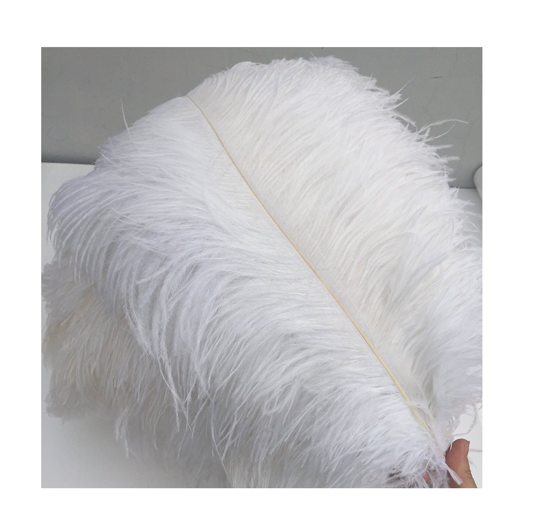 KAYSO 20 Piece Real Natural Ostrich Feathers Great Decorations, 12-14'' (30~35cm), White