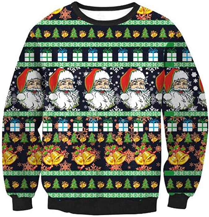 72057a83 Amazon.com: 3D Ugly Christmas Sweater Unisex Men Women Vacation Santa Elf  Pullover Funny Womens Men Sweaters Tops Autumn Winter Clothing (Green (10),  ...