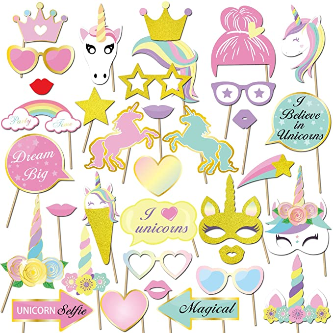 Konsait Unicornio DIY Photo Booth Props Cumpleaños Cabina de Fotos Accesorios Photocall máscaras Gafas en Palos para Niños niñas Regalo Unicornio ...