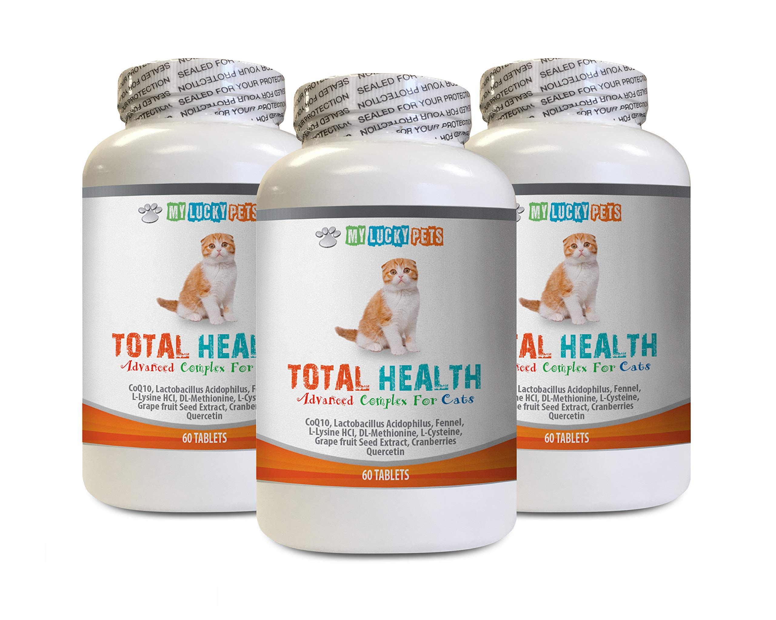 MY LUCKY PETS LLC cat UTI Pain Relief - CAT Total Health Formula - Hair Skin Teeth Eye Urinary Health - Immune Boost - cat Immune System Booster - 3 Bottles (180 Tablets) by MY LUCKY PETS LLC
