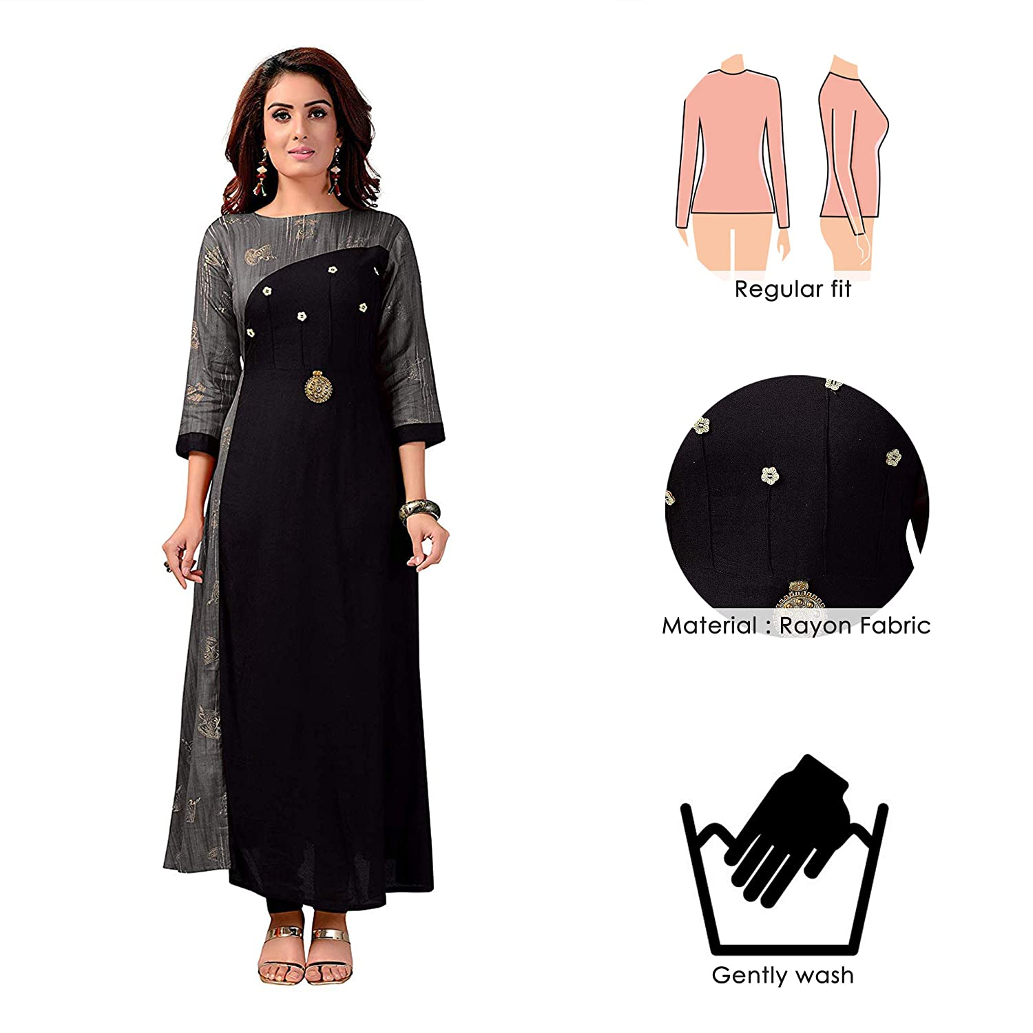 0b9b56a5ad6 Madhuram Textiles Women s Rayon A-line Kurti  Amazon.in  Clothing    Accessories