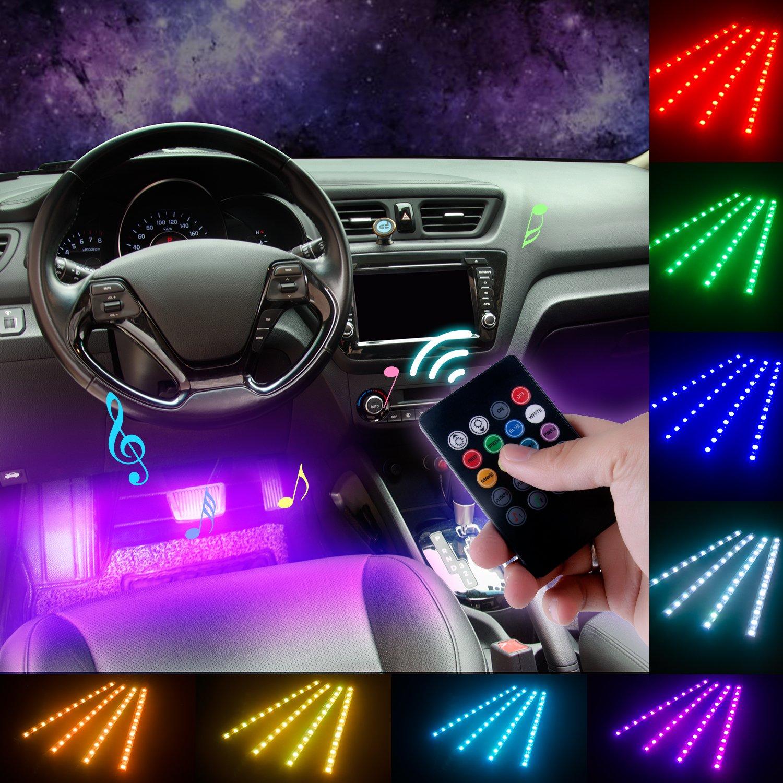 DITRIO® 4 × 12 LED Auto Interni Luce al Neon di Strisce Multicolori per L'illuminazione e la Decorazione del Vano Piedi con RF Telecomando e Caricatore per Sigaretta da Auto DC 10 - 15 V