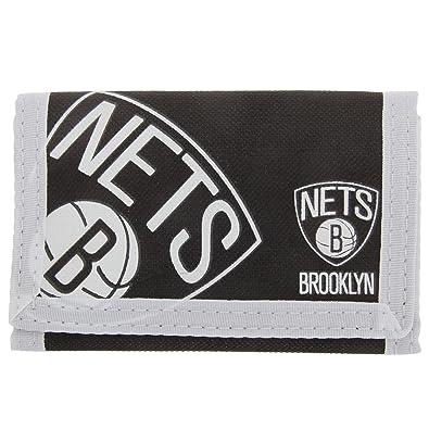 Brooklyn Nets - Billetera/ Monedero/ Cartera de tela con velcro oficial para hombre/caballero - NBA (Talla Única/Blanco/Negro)