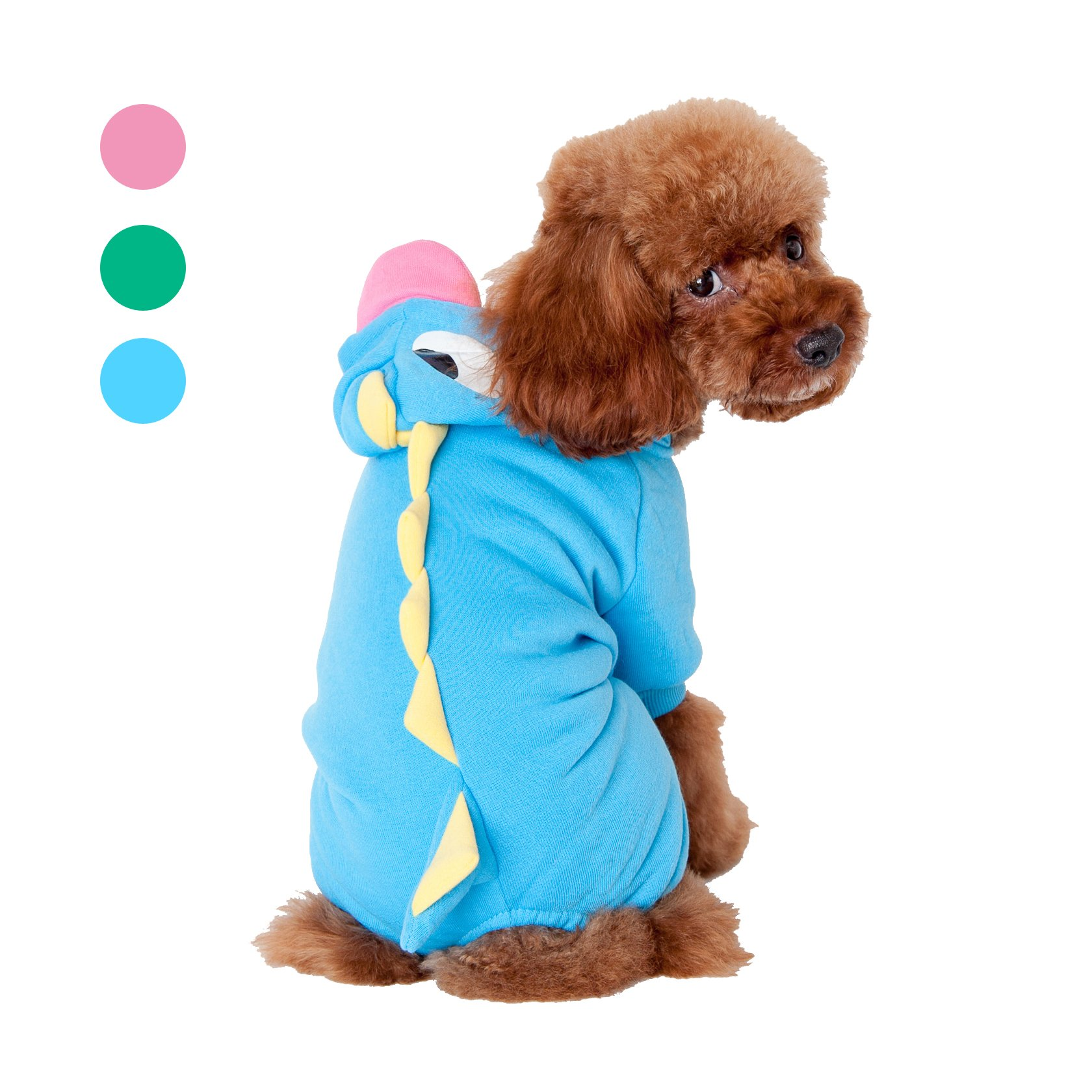 GabeFish Dog Funny Dinosaur Animal 4 Legs Cotumes Hoody Button Hoodies For Puppy Small Medium Pets Cute Winter Coats Blue X-Large