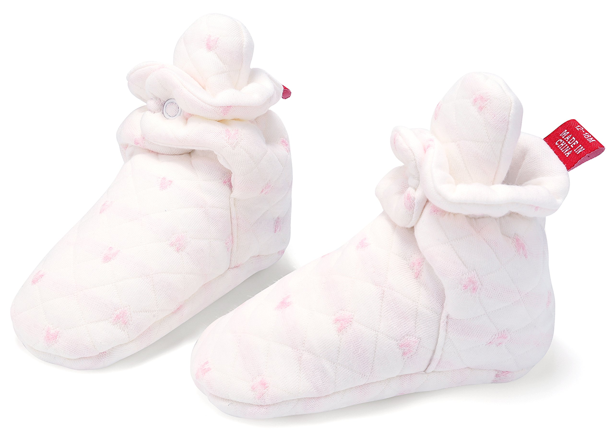 Booties Newborn Slippers For Baby Boys Girls 100% cotton (Heart Pink, 3-6M)