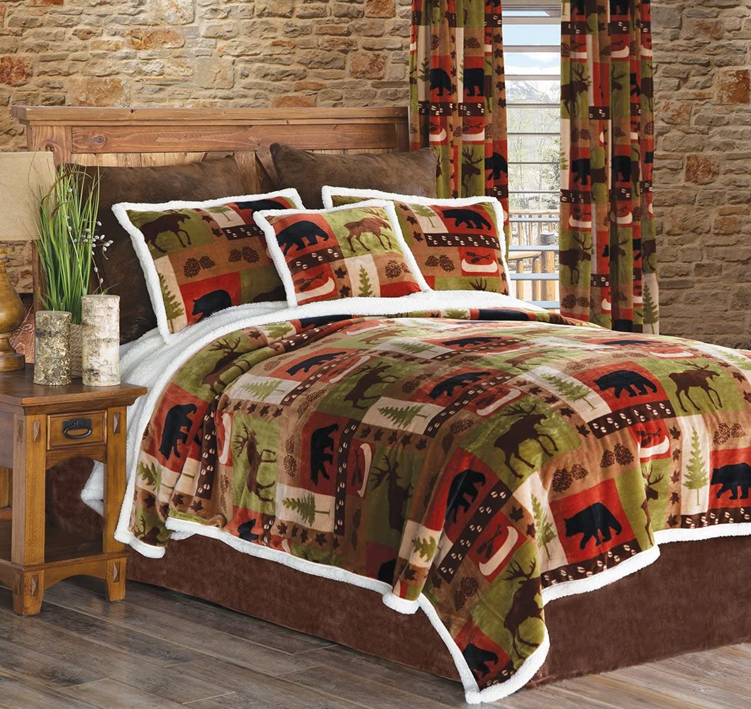 Carstens Patchwork Lodge Plush Bedding Set, Queen, Multicolor