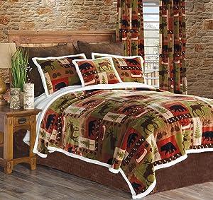 Carstens Patchwork Lodge Plush Bedding Set, King, Multi