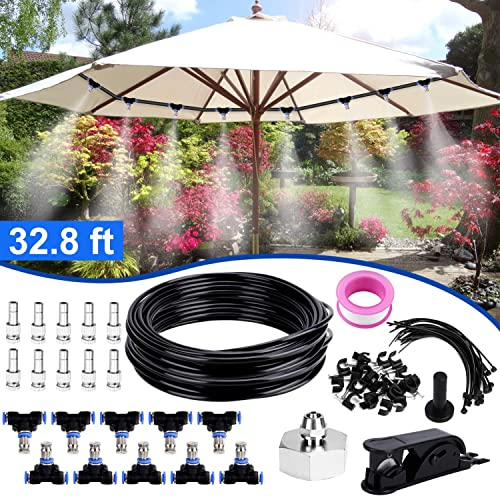 Bearbro Misting Cooling System,Misters for Patio, 32.8FT 10M Misting Line DIY Outdoor Mist Cooling Kit 10 Mist Nozzles 20 Tube Ties a Connector 3 4 Great for Patio Garden Greenhouse Trampolin