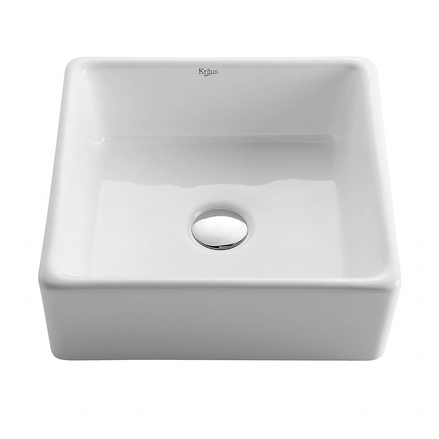 Kraus KCV 120 White Square Ceramic Bathroom Sink   Vessel Sinks   Amazon.com