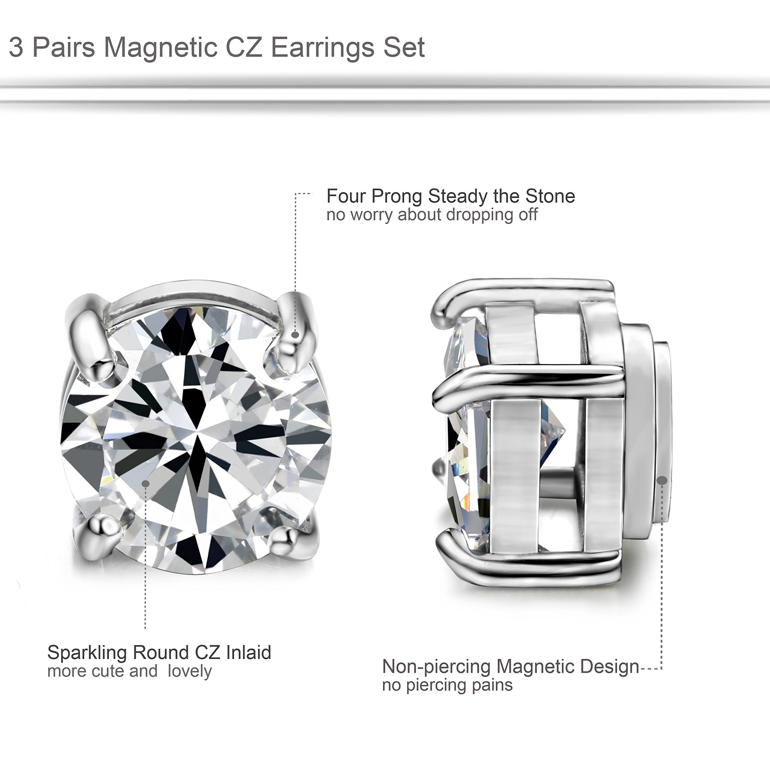 ORAZIO 3 Pairs Stainless Steel Magnetic Stud Earrings for Womens Mens Non Piercing Cubic Zirconia 8mm by ORAZIO (Image #2)