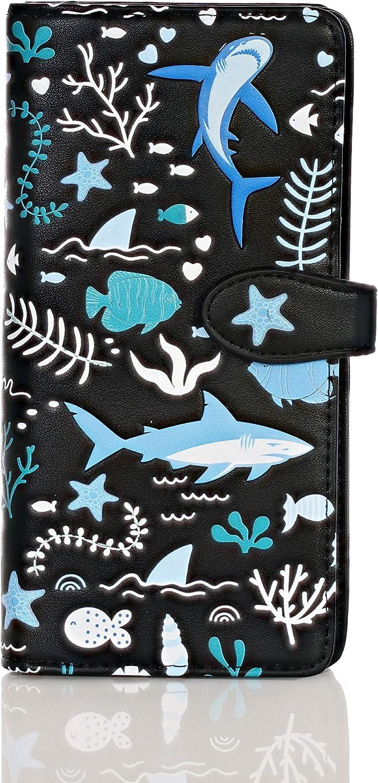 Shagwear Shark Pattern Large Women's Zipper Bi-Fold Wallet