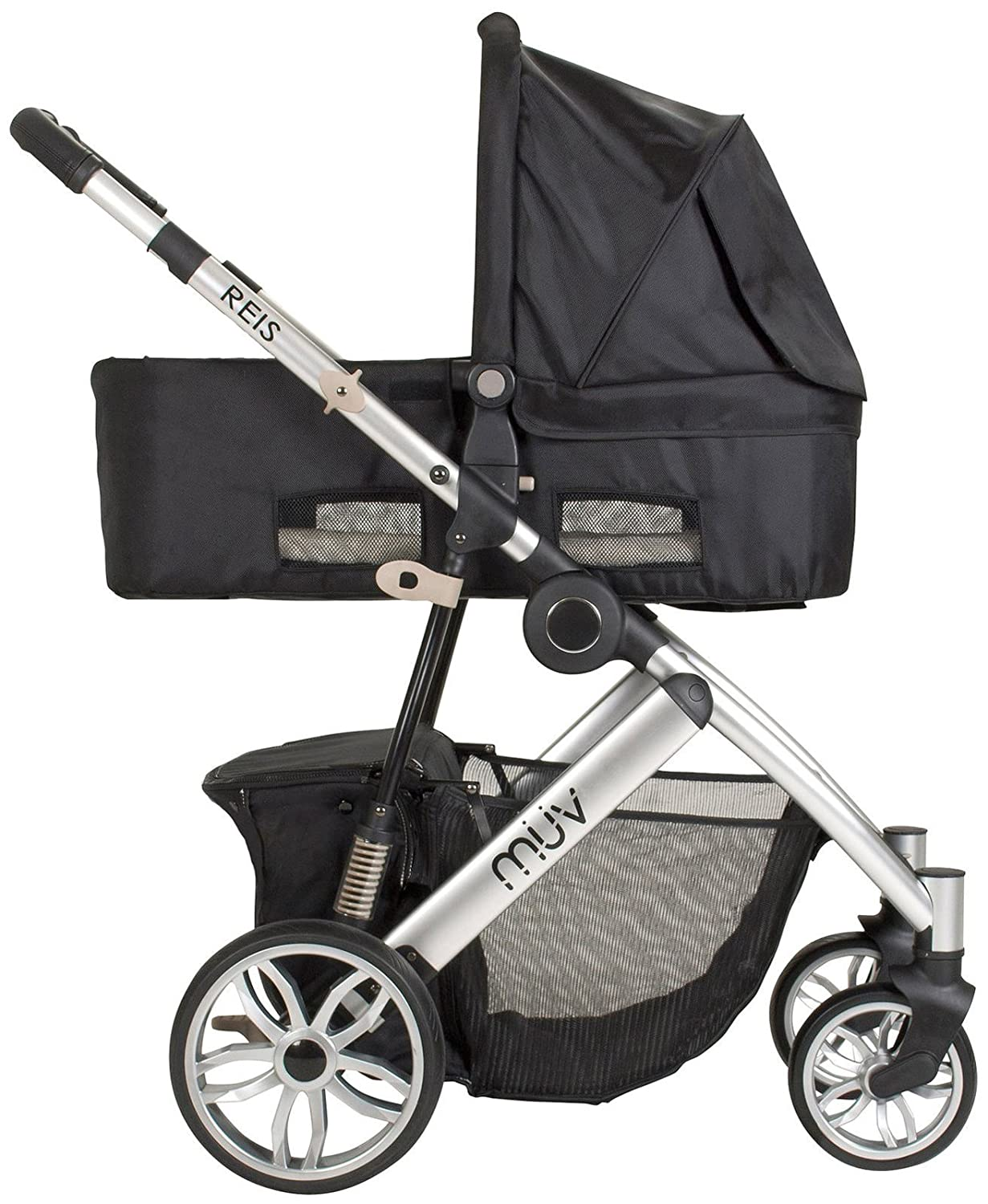 Muv Reis Complete Stroller and Bassinet - Kiwi - Arctic Silver