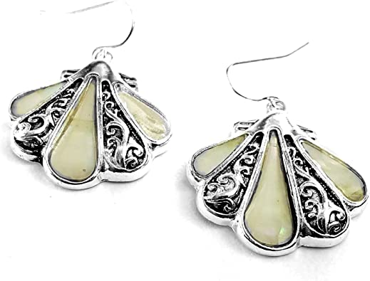 58 White Mother Of Pearl Shell 925 Sterling Silver Earrings