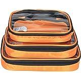 Damero sac de rangement de 3 pièces, sac des accessoires electroniques pour cordes, chargeurs, lecteur flash USB, transparant en haut, bon étui d'arragement en cube pour voyage, orange