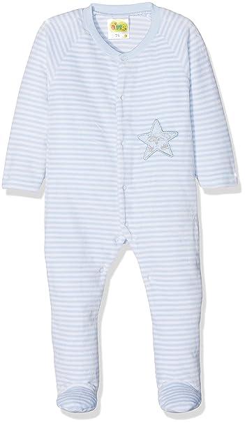DIMO-TEX natubini Newborn Nickyanzug mit Fuß, Pelele para Dormir Unisex bebé, Azul