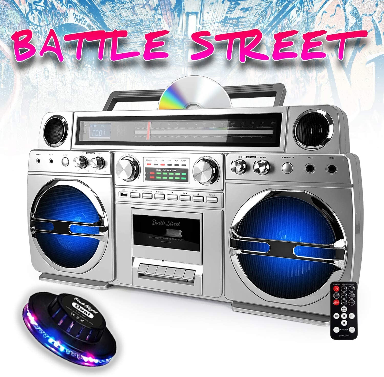 USB Ghetto-Blaster UFO-Licht RGB mit CD//Kassette Bluetooth tragbar Battle-Street 60 W