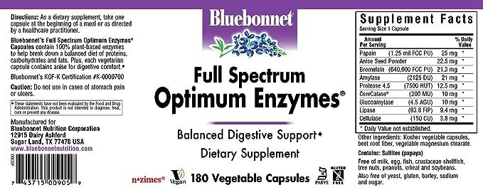 Vegetariana óptimo Enzimas, 180 Vcaps - Bluebonnet Nutrición: Amazon ...