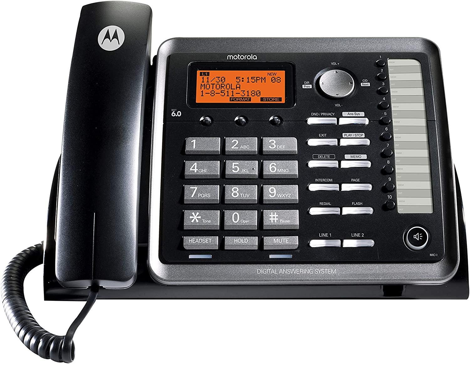 Motorola ML25254 DECT 6.0 Expandable Corded 2-line Business Phone with Caller ID & Answering Machine, Black
