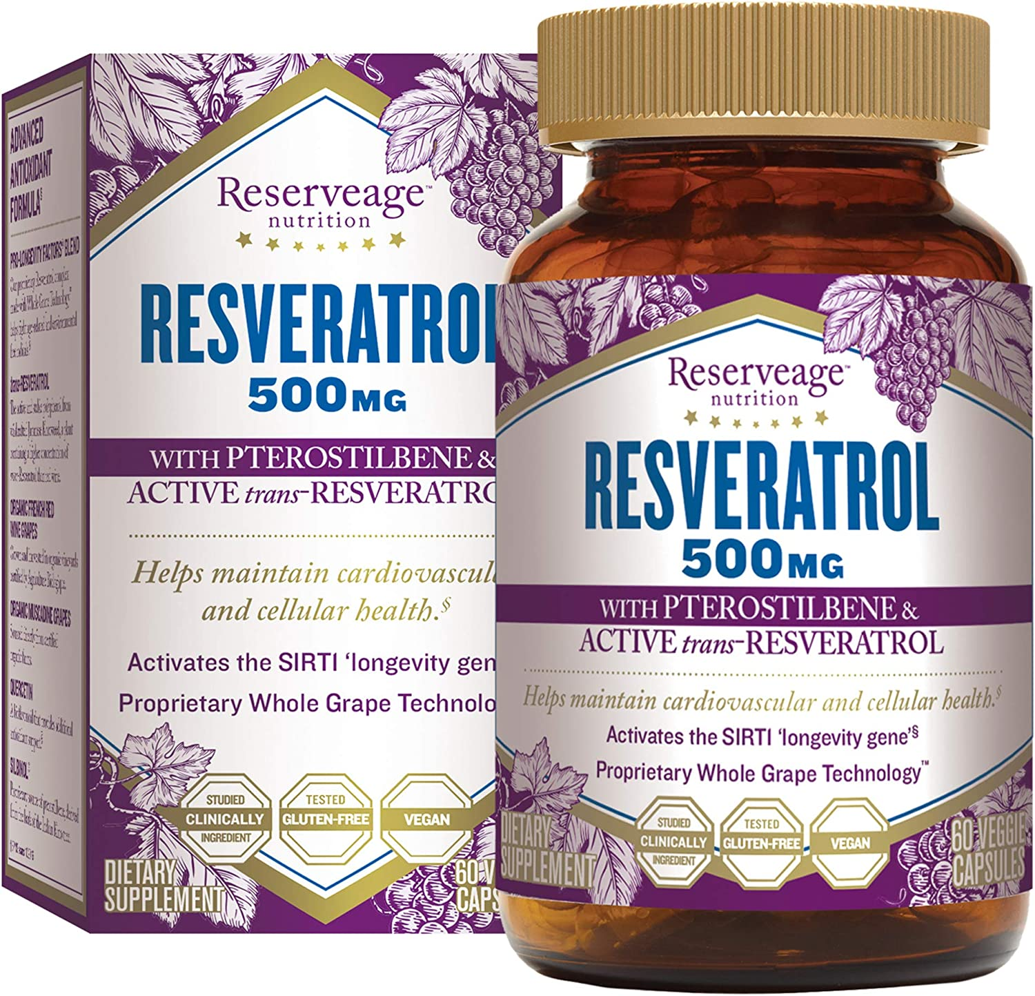 Reserveage, Resveratrol 500 mg with Pterostilbene, Antioxidant Supplement for Cardiovascular and Cellular Health, Supports Healthy Aging, Paleo, Keto, 60 capsules (60 servings)