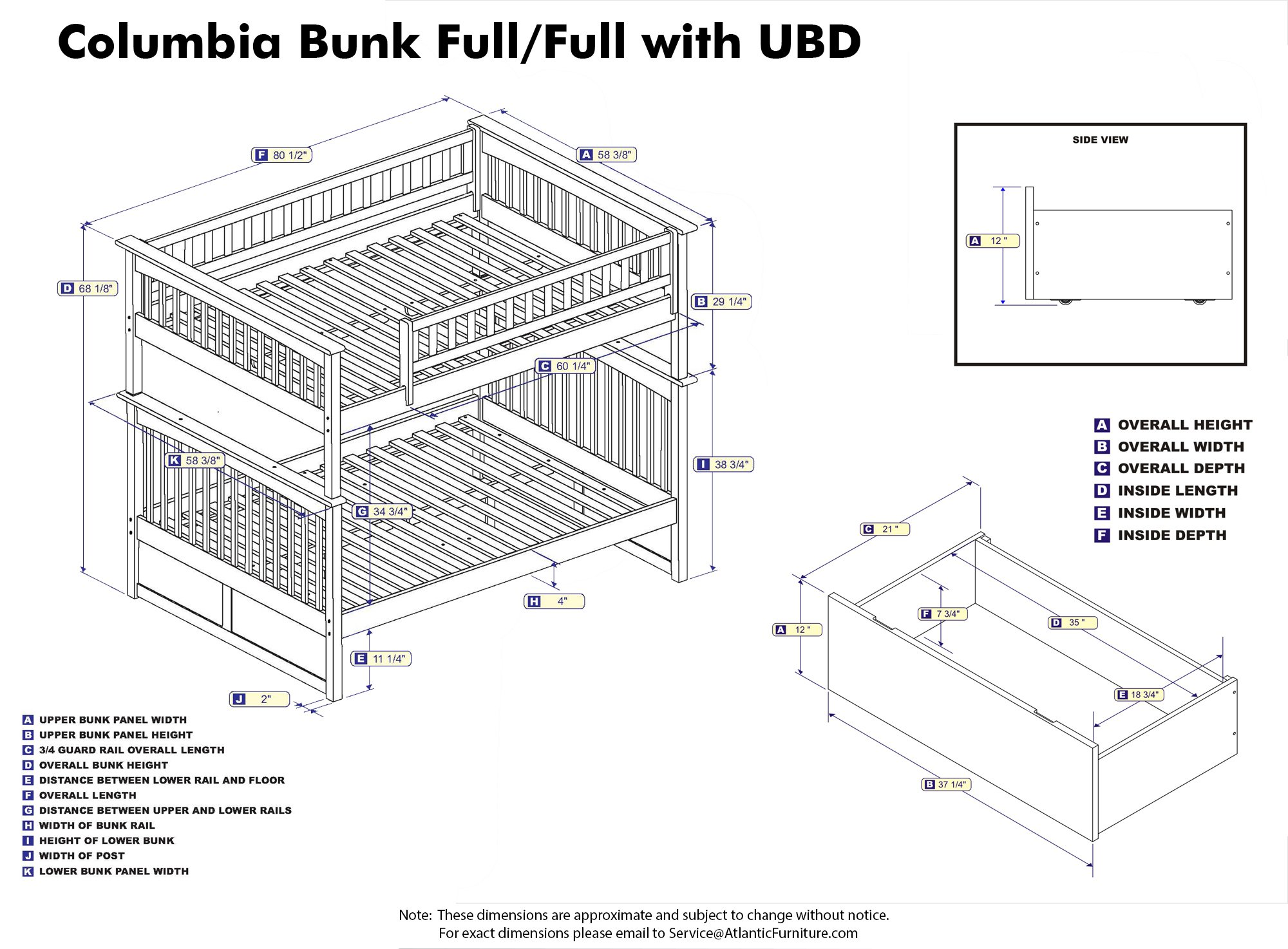 Columbia Bunk Bed with 2 Flat Panel Bed Drawer, Full Over Full, Caramel Latte