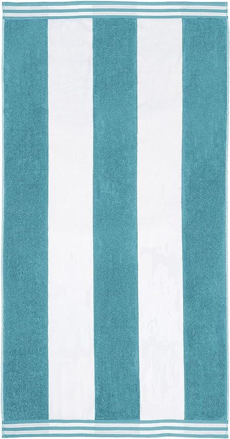 Superior 100 Cotton Luxury Beach Towels Oversized Beach Towel 450 Gsm Swim Towel Turquoise Cabana Stripes 34 X 64 Home Kitchen