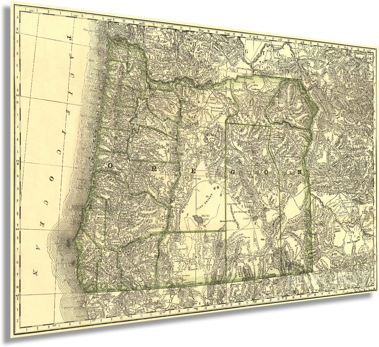 Historix Vintage 1876 Map of Oregon - 16x24 Inch Vintage Map of Oregon Wall Art - Oregon Map Print Showing Railroads, Counties, Lakes and Rivers - Oregon Map Poster - Oregon Art Wall Decor (2 sizes)