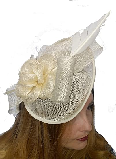 Chapter 78 Boutique Ivory Cream Bow Saucer Sinamay Fascinator - Occasion  Wedding Races  Amazon.co.uk  Clothing 760ded3c37a