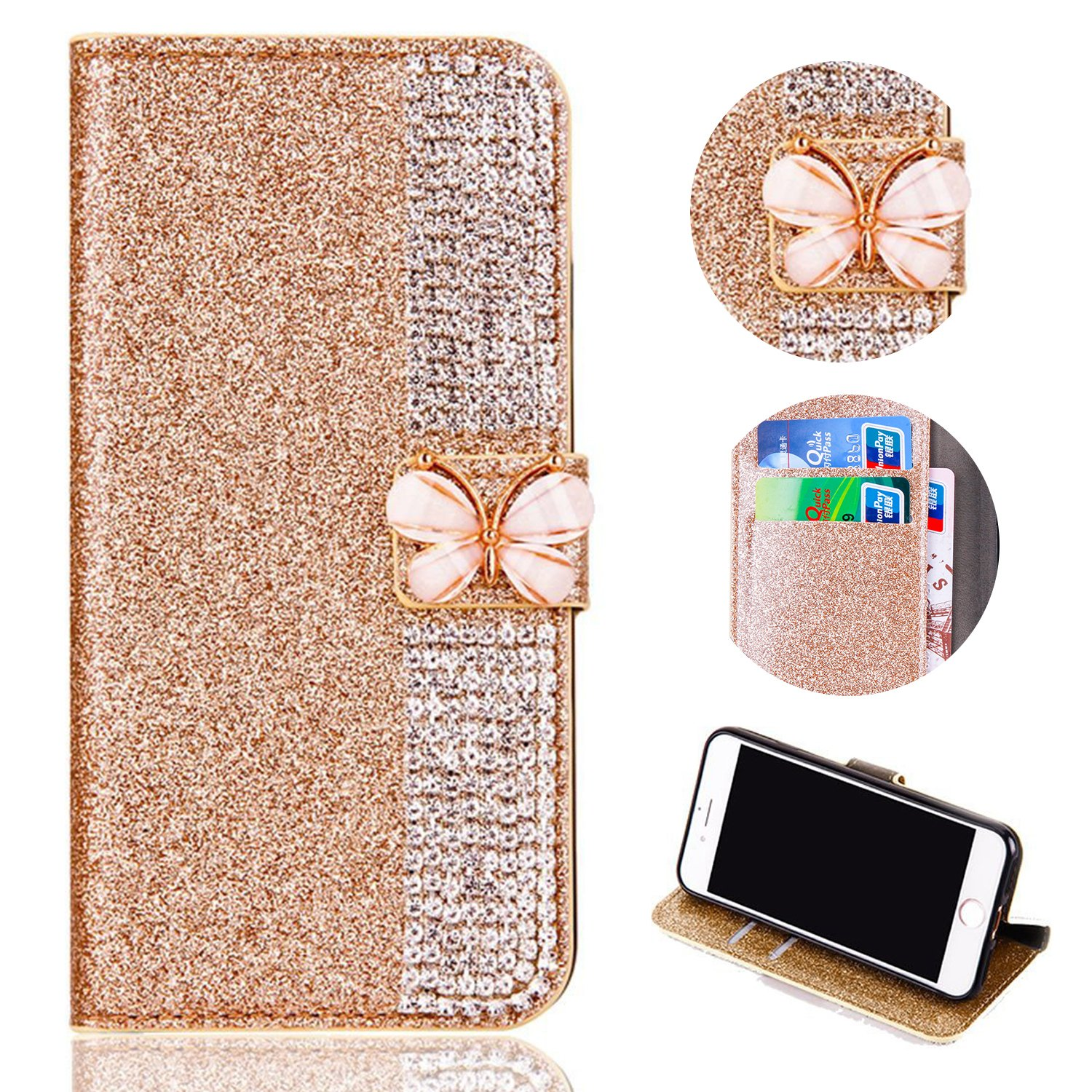 Bling Glitter Case for iPhone XR 6.1 inch,Shinyzone Luxury Diamond [3D Butterfly Magnetic Buckle] [Stand Feature] PU Leather Wallet Protective Cover for iPhone XR 6.1 inch,Golden