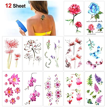 Konsait 12 Hojas Flores Tatuajes temporales para adultos Mujer ...