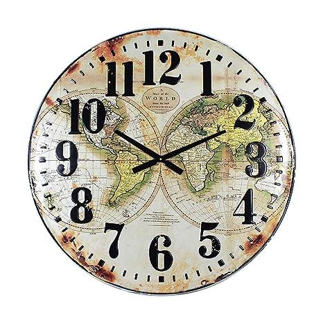 Reloj de Pared Vintage Mapamundi Metal 80 cm