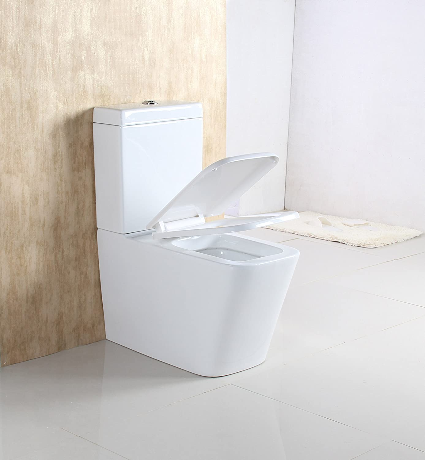 WEIBO Modern Bathroom Back to Wall Toilet Close Coupled Pan Cistern WC White Ceramic Soft Seat 1005