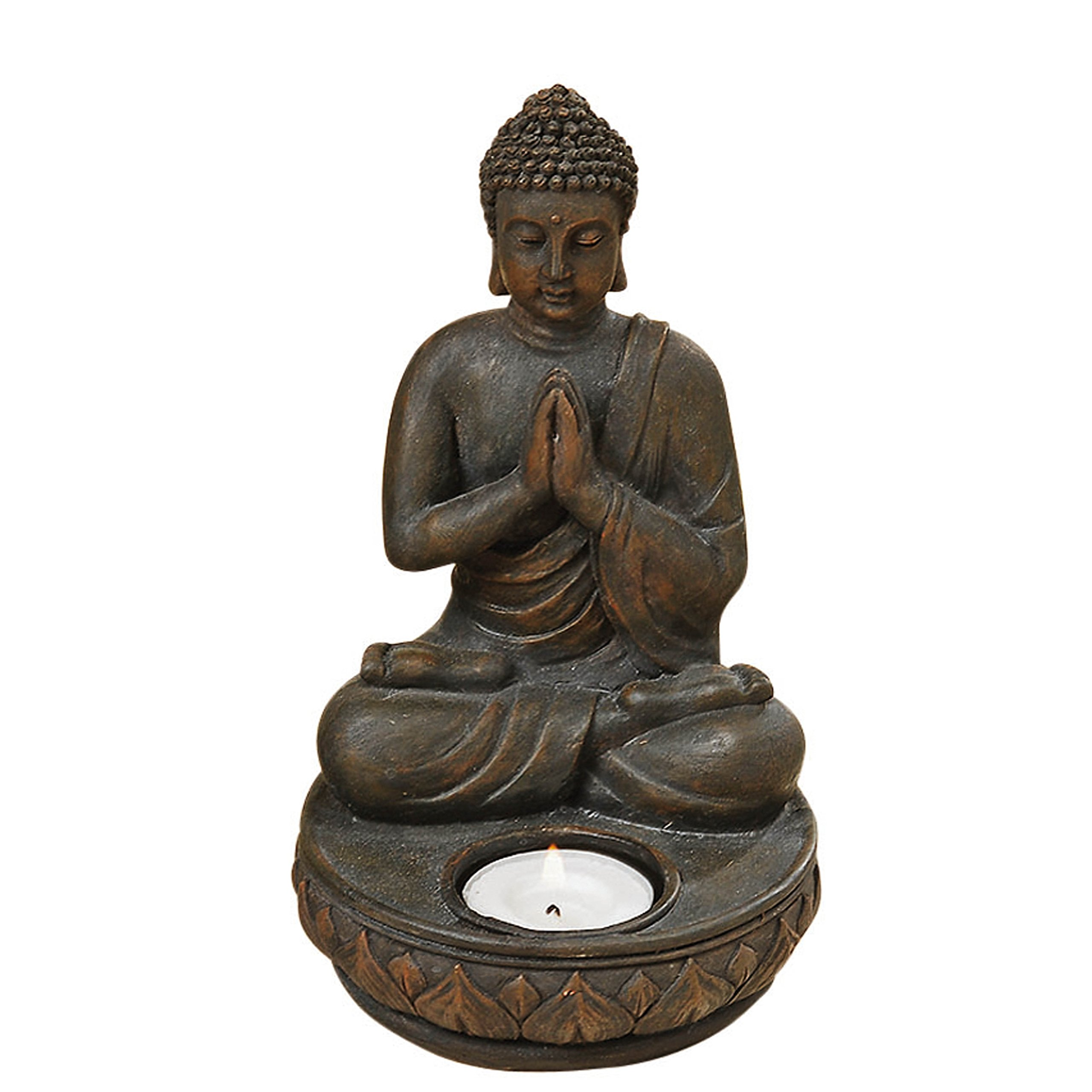 Whole House Worlds Seated Buddha Tealight Candle Holder in The Greeting or Namaste Pose, Lotus Base, 7 1/2 H x 4 3/8 Inches, Hand Crafted, Cast Polyresin, Bronze, from The Serenity Collection