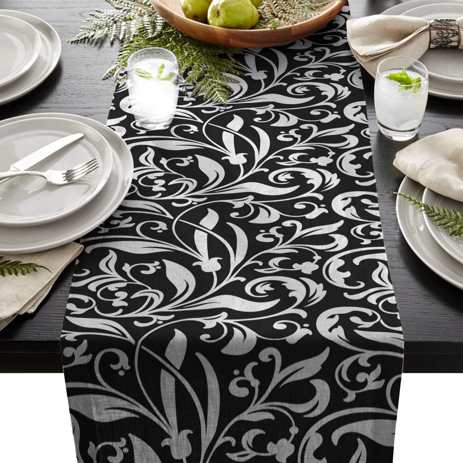 Edwiinsa Vintage Plant and Geometric Table Runner For Dining Table Kitchen Wedding Party Decoration Table Top Home Decor 18 x 72 Inch LNTT20180613EDTK-CRY-1410-zq-5