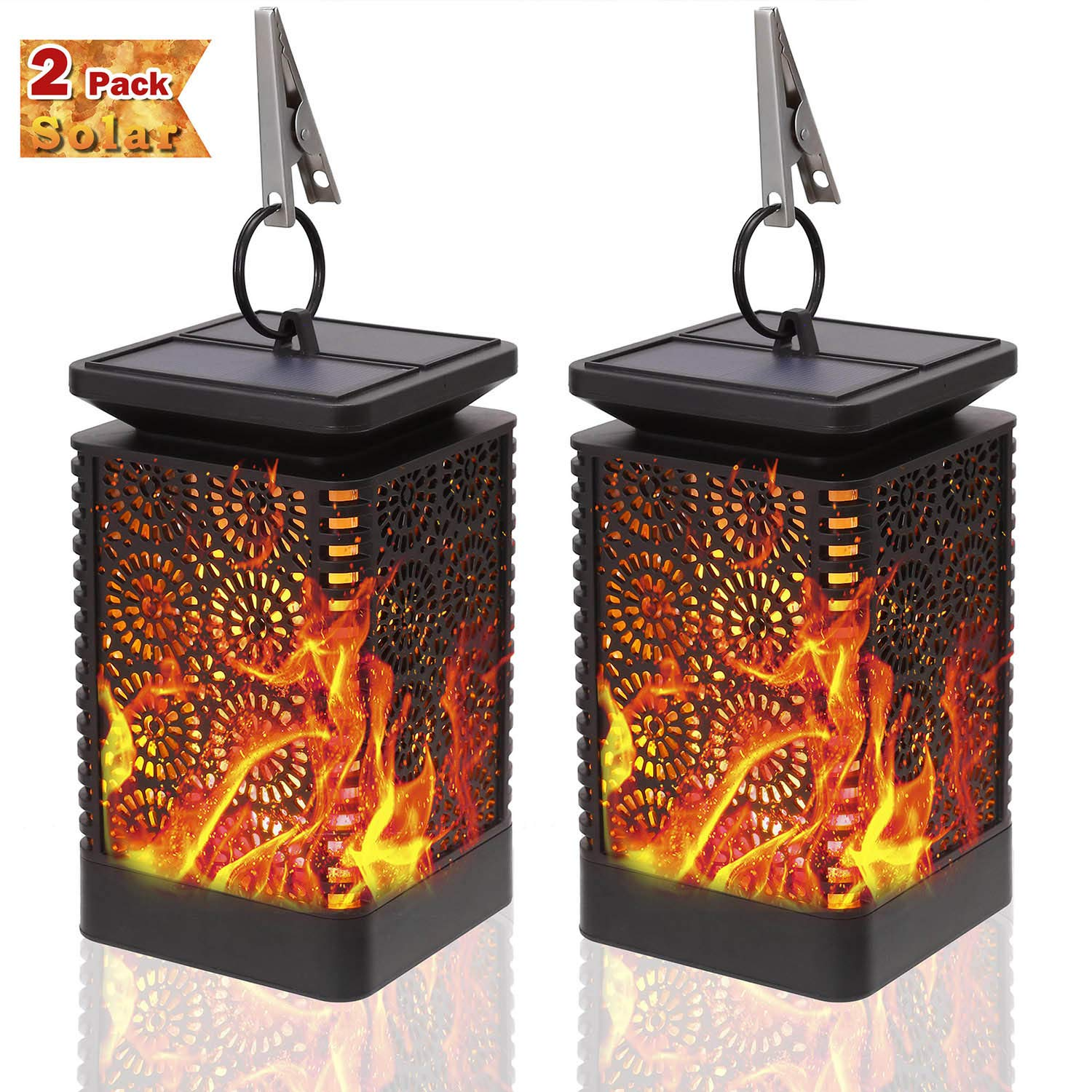 Solar Lantern Outdoor - KeShi Dancing Flames Lights Waterproof Hanging Lanterns Solar Yard Lights Auto On/Off Lighting Dusk to Dawn 99 Bright LED Garden Decor (2 Pack)