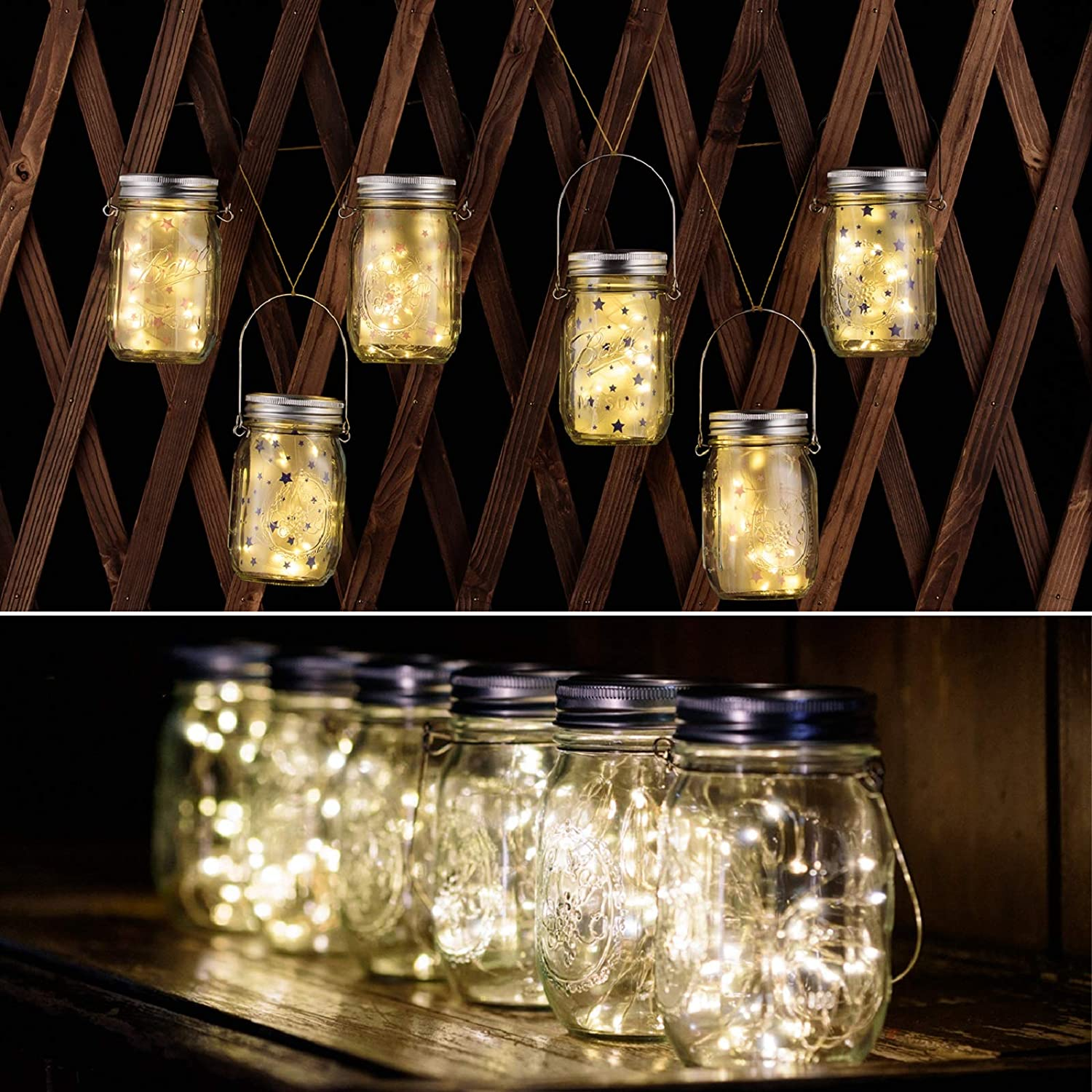 ANGMLN YITING Solar Hanging Mason Jar Lights 6 Pack 30 LED Fairy Lights Solar Laterns Outdoor Hanging Table Lights 6 Hangers and Jars Included Decor for Patio Garden Yard Fence Pathway Gazebo