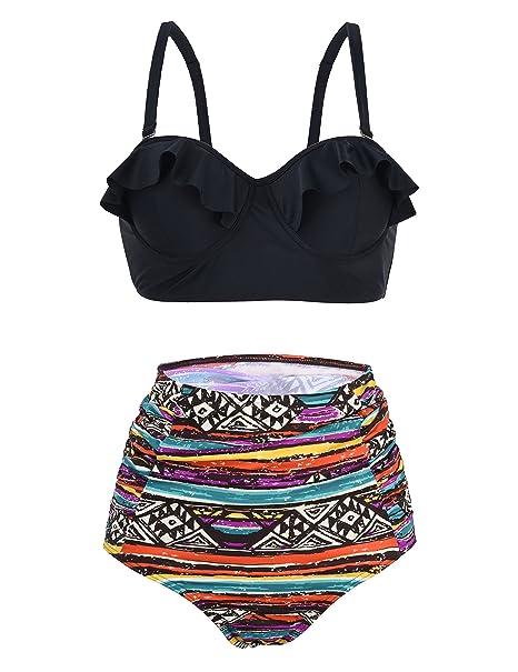 ac08392562d Amazon.com: Firpearl Women's Retro 50's Ruffle High Waisted Bikini Set Two  Piece Swimsuit Brown 14: Clothing