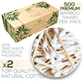 Premium 500 Biodegradable Bamboo Cotton Swabs | Compostable Wooden Ear Sticks | Zero Waste Disposable Products | Plastic…