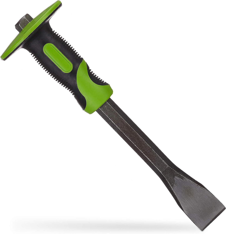 29 cm lang Stahl /& Gummi pr/äziser Putzmei/ßel gr/ün//schwarz Relaxdays Flachmei/ßel mit Handschutz 35mm Fliesen Mei/ßel