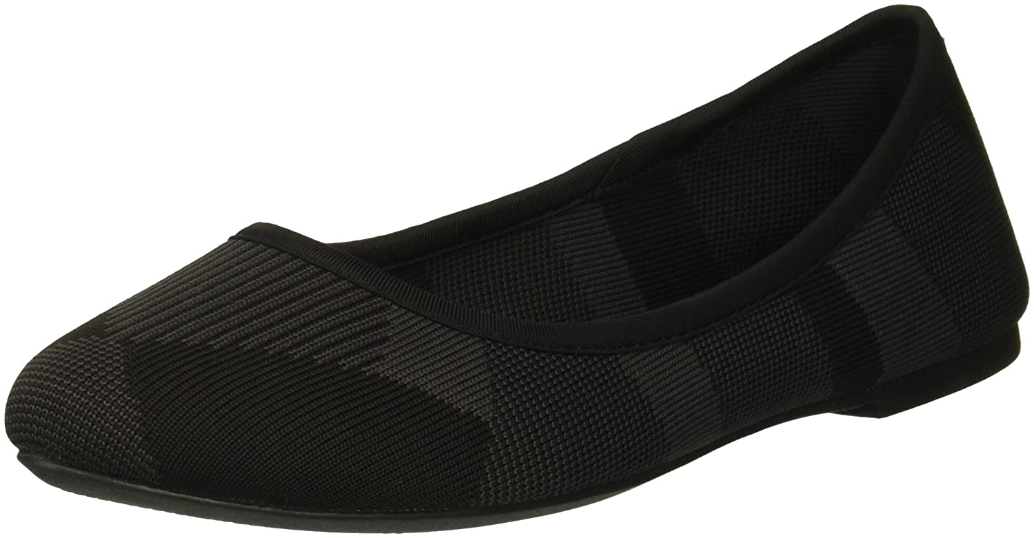 Skechers Women's Cleo-Bam-Engineered Knit Skimmer Ballet Flat B079HLTJXM 9 B(M) US|Black/Charcoal