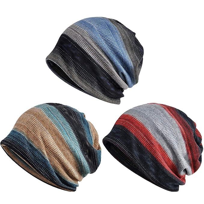 61cce1c3a80 Zando Unisex Soft Beanie Cap Striped Slouchy Chemo Hat Turban Cozy Skull  Cap Lightweight Stretch Sleep
