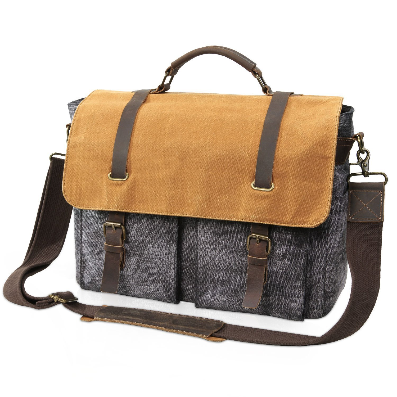 Lifewit Men's Waterproof Messenger Bag 15.6 Inch Waxed Canvas Laptop Satchel College Shoulder Bag for Business Work